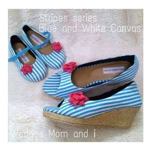 Stripe Series - Blue and White Canvas