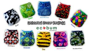 Ecobum universal cover 10 motif Rp. 85,000/paket (cover + prebleached organic prefold)