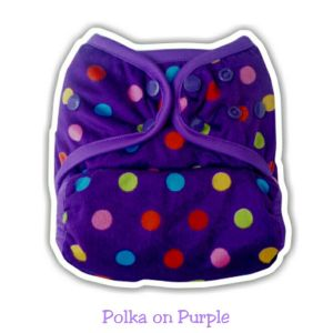 Ecobum Pocket Polka on Purple (Minky-Snap) Fits on 3-15kg